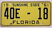 Old Florida Tag, 1961
