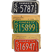 REDUCED Vintage Kansas Motorcycle License Plates 1972 1973 1974