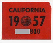 California License Plate Year Sticker, 1957, YOM