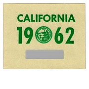 SALE Vintage California License Plate Sticker 1962