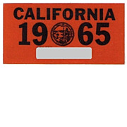 REDUCED Vintage 1965 California License Plate Sticker