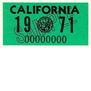 1971 SAMPLE California License Plate Sticker, New Old Stock!