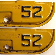 Old 1952 California License Plate Year Tabs, Matching Serial Numbers: 4819852