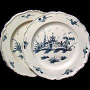 Pair Antique English Delft Blue and White Tin Glaze Pottery Plates 18th century