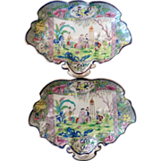 Pair Antique 19th century Mason's Ironstone Shell Shaped Dishes Chinese Pink Scroll Pattern
