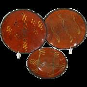 Set 3 19th century American Redware Plates