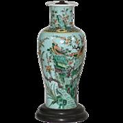Tall Chinese Porcelain Baluster Shaped Vase in Famille Vert Glaze - 19th century