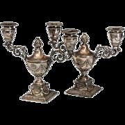 Pair 19th century Sheffield Silver Plate Urn Form Candelabra.