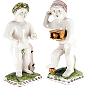 Pair Antique 18th century Delft Tin Glaze Faience Pottery Figures of the Seasons