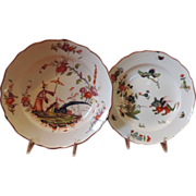 Pair Antique 19th c. Meissen Porcelain Plates in the Chinese Taste