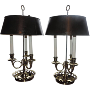Fine Pair 19th century French Polished Brass Bouillotte Lamps with Green Tole Shades