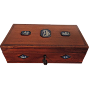 Rare 18th century Satinwood Box with neoclassical Wedgwood Jasperware Plaques in Bright Cut ..