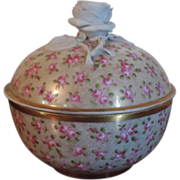 Antique Early 19th century Old Paris Porcelain Jar & Cover with Bisque Rose Knop
