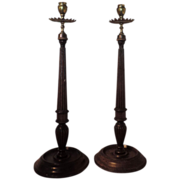 Pair Antique 19th century English Georgian Style Carved Mahogany and Brass Tall Candlestick ..