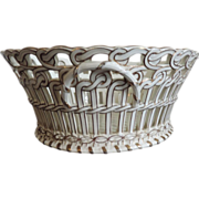 Antique 19th century French Luneville Pottery Reticulated Centerpiece Basket in White & Gold