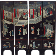 Antique 19th century Chinese Black Lacquer Four Panel Screen