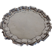 Walker & Hall Sterling Silver Scrolled Footed Waiter Salver Tray with Scalloped Rim Sheffield