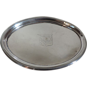 Antique 19th century English Regency Sterling Silver Tea Pot Coaster Stand Salver Tray with Cr