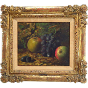 Antique 19th century Still Life Oil Painting of Fruit - Grapes and Apples - by Vincent Clare