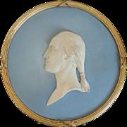 Antique 19th century Wedgwood Jasperware Wall Plaque George Washington in Gilt Wood Frame
