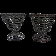 Pair Antique 19th century Folk Art Wire Work Basket Urns