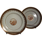 Pair Fine Chinese Export Porcelain Plates c. 1800