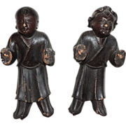 Pair Antique 19th century Chinese Carved Wood Figures with Lacquer Finish
