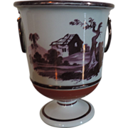 Antique Early 19th century English Porcelain Urn Vase with Pink Lustre Landscape Decoration on