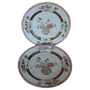 Pair 18th century Chinese Export Porcelain Plates Decorated with a Vase of Peonies in Famille