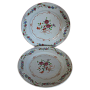 Pair Antique 18th century Chinese Export Porcelain Plates in Famille Rose