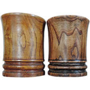 Pair Chinese Art Deco Carved Hardwood Brush Pots
