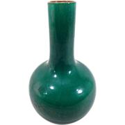 Antique Late Qing Chinese Monochrome Porcelain Bottle Shaped Vase in Apple Green Crackle Glaze