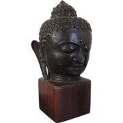 Large Antique 19th century Bronze Buddha Head Mounted on Mahogany Pedestal