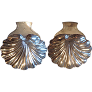 Large Pair Antique 18th c. English Georgian Old Sheffield Plate Silver on Copper Shell Form Di