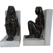 Pair Antique 19th century Bronze Egyptian Revival Pharaoh Figures Mounted as Bookends