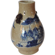 Antique 19th century Chinese Porcelain Vase with Landscape Decoration and Foo Dog Handles