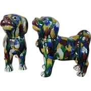 Pair Antique 19th century Chinese Porcelain Spinach Glazed Pug Dogs