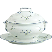 Large antique 18th century Niderviller Porcelain Soup Tureen Cover & Stand in Sprig or ...