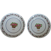 Pair Antique 18th century Chinese Export Porcelain Monogrammed Plates Decorated with Cherries