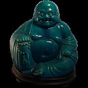 Large 19th c. Turquoise Glazed Buddha with Mahogany Stand
