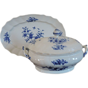 Antique 18th century Amstel Porcelain Soup Tureen, Cover & Stand Decorated in Blue and ...