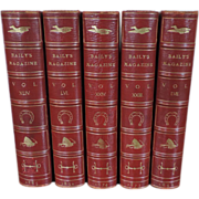 Set 5 Volumes of Baily's Magazine in Red Leather Bindings 19th century