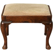 Antique 18th century Queen Anne Walnut Stool with Cabriole Legs Ending in Pad Feet, ...