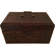 Antique 18th century George III Fret Carved Chippendale Mahogany Tea Caddy