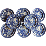 Set Eight Antique Early 19th century Rogers Blue & White Transfer Plates in the Chinese ..