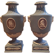 Pair Antique Early 19th century Light Blue Wedgwood Neoclassical Tricolor Jasperware Urn Vases