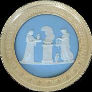 Antique 19th century Wedgwood Jasperware Plaque Classical Altar Scene Mounted in Gilt Bronze .