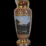 Large Antique 18th century Paris Porcelain Vase Form Ewer Jug with Landscape Decoration 11.5 .