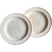 Pair Antique Early 19th century English Creamware Reticulated Plates by Wedgwood