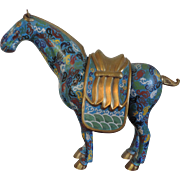 Monumental Antique 19th century Chinese Cloisonne Model of a Horse and Saddle